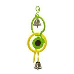 Small Hanging Mirror Ring bird toy with colorful links, mirror, and bells
