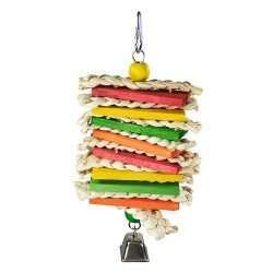 Corn Husk Sandwich hanging bird chew toy colorful wood, corn husk braid, and bell