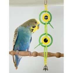 Rings and mirrors hanging colorful plastic small parrot toy