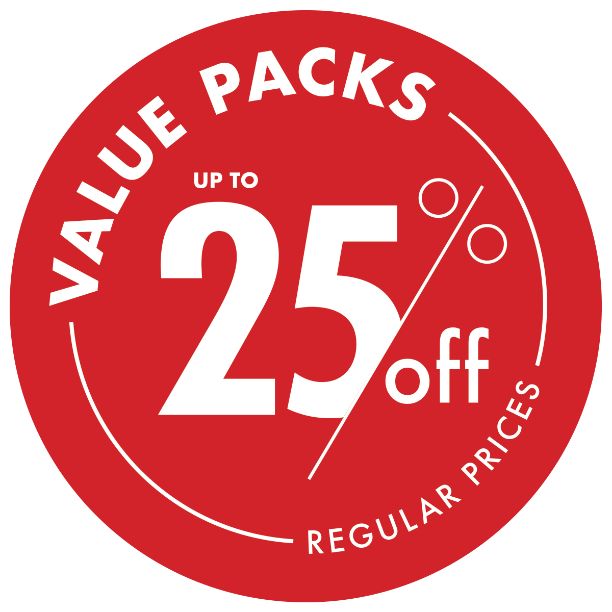 Value Packs up to 25% Off
